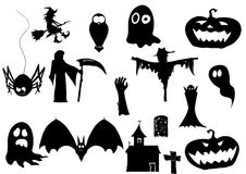 Vector collection of halloween icons. black silhouettes Royalty Free Stock Photos