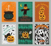Vector collection of Halloween party invitation or greeting cards royalty free illustration
