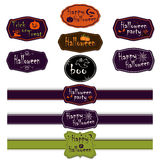 Vector collection of halloween ribbons and labels. Stock Photo