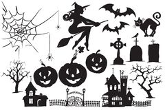 Vector collection of Halloween symbols stock image