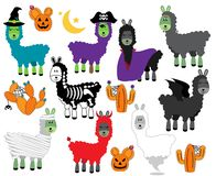 Vector Collection of Halloween Themed Llamas vector illustration