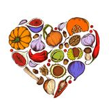 Vector collection of hand drawn autumn vegetables shape of heart vector illustration