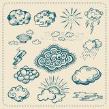 Vector collection of hand drawn cloud icons Stock Photography