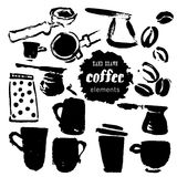 Vector collection of hand drawn coffee brand design elements. Stock Photo