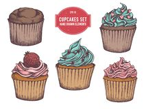 Vector collection of hand drawn cupcakes vector illustration