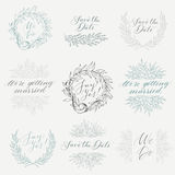 Vector collection of hand drawn design elements and objects. Vintage floral elements. Wedding style. Linear sketch wedding elements for invitation template or Stock Photo