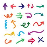 Vector set of hand drawn colorful arrows isolated on white background stock illustration