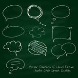 Vector Collection of Hand Drawn Doodle Style Speech Bubbles on chalkboard Stock Photography