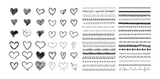 Vector Collection of Hand Drawn Hearts and Cute Divider Lines, Black Drawings Isolated on White Background. vector illustration