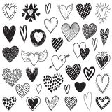 Vector collection of hand drawn hearts in sketch style isolated on white royalty free illustration
