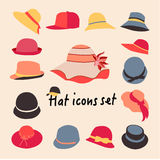 Vector collection of hats for men and women Stock Images