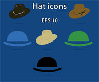 Vector Collection of Hats or Photo Props. Collection of headgear,  icons. Collection of 6 different hats Royalty Free Stock Image