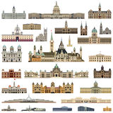 Vector collection high detailed city halls, parliament houses and administrative buildings stock illustration