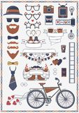 Collection of hipster wedding objects and signs. Decorative design elements for wedding card and invitation and infographic. Vector collection of hipster wedding stock illustration