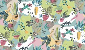 Vector collection of house plants in pots with collage paper background. stock illustration