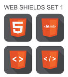 Vector collection of html web development shield signs: html5, t Stock Photos
