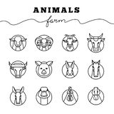 Vector collection of illustrations of farm animals icons in linear style isolated white background. stock illustration