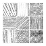 Vector collection ink hand drawn hatch texture. Ink lines, points, hatching, strokes and abstract graphic design elements isolated on white background Stock Images