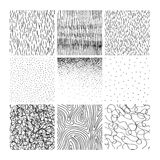 Vector collection ink hand drawn hatch texture. Ink lines, points, hatching, strokes and abstract graphic design elements isolated on white background Stock Image