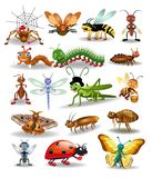 Vector collection of insects isolated on a white background stock illustration