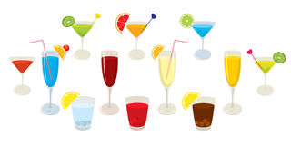 Vector collection of isolated, colorful alcohol cocktails and drinks. Royalty Free Stock Photo