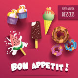 Vector Collection of isolated ice creams and desserts with bon appetit title Stock Photos