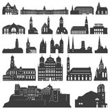 Vector collection of isolated palaces, temples, churches, cathedrals, castles, city halls, edifices,  ancient buildings and other Stock Image