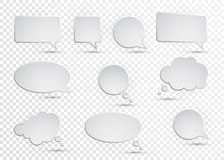 Vector collection of isolated speech bubbles on the transparent background.  Stock Photography