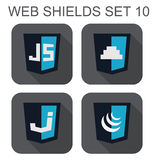 Vector collection of  javascript web development shield signs: j Royalty Free Stock Image