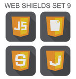 Vector collection of  javascript web development shield signs: j Stock Photos