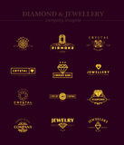 Vector collection of jewellery and diamond logos. Flat crystal company insignia template. Vintage logo design royalty free illustration
