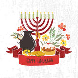 Vector collection of labels and elements for Hanukkah Royalty Free Stock Photography