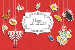 Vector collection of labels and elements for Hanukkah Stock Images