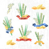 Vector collection of labels and elements for Sukkot (Jewish Trad Stock Photo