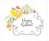 Vector collection of labels and elements for Sukkot Royalty Free Stock Image