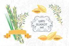 Vector collection of labels and elements for Sukkot  Royalty Free Stock Photos