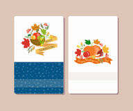 Vector collection of labels and elements for Thanksgiving. Thanksgiving card templates with signature Happy Thanksgiving. Flower template for postcard or Royalty Free Stock Photography