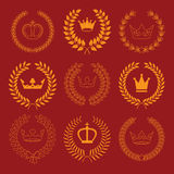 Vector collection: laurel wreaths with crowns Royalty Free Stock Image