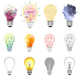 Vector collection of light bulbs stock illustration