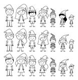 Vector Collection of Line Art Christmas or Holiday Themed Stick Figures Stock Photos