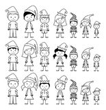 Vector Collection of Line Art Christmas or Holiday Themed Stick Figures Stock Image