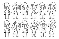 Vector Collection of Line Art Christmas or Holiday Themed Stick Figures Royalty Free Stock Photos