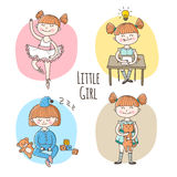 Vector collection of little girl in different situation. Children lifestyle set stock illustration