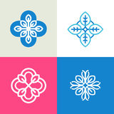 Vector collection of logo design templates and abstract floral emblems in flat linear style. royalty free stock image