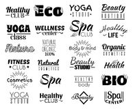 Vector collection of logo and labels, badges for healthy life with decorative elements. Stock Photos