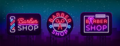 Vector collection logos neon sign barber shop for your design. For a label, a sign, a sign or an advertisement. Hipster stock illustration
