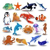 Vector collection of marine animals isolated on a white background. Vector collection of marine animals like sea turtle, whale, shark, dolphin, lobster isolated Stock Images