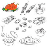 Vector  Collection of meat food Royalty Free Stock Images