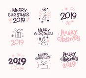 Vector collection of Merry Christmas congratulation compositions with text and outline traditional decor icons. Fir tree, snowflake, gift box, cone, star etc Stock Photo