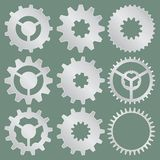 Vector collection of metal gear wheels royalty free stock image